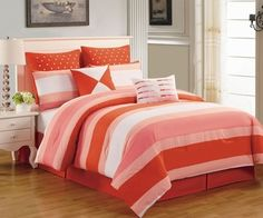 """8 Piece Queen Preston Coral and Pink Comforter Set  Add a contemporary look to your bedroom with this modern comforter set with bold stripes in shades of coral and pink. Features Color: Coral/Pink/White Size: Queen Machine Washable This set includes: 1 Comforter (88""""x92"""") 2 Shams (20""""x26""""+3"""") 1 Bedskirt (60""""X80""""+15"""") 2 Euro Shams(26""""x26"""") 1 Square pillow(18""""x18"""") 1 Breakfast pillow (12""""x16"""")"""