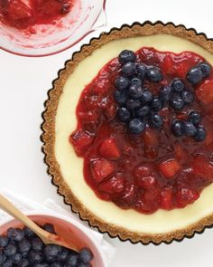 Red, White, and Blueberry Cheesecake Tart - marthastewart.com