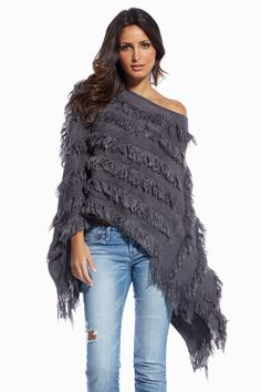 Elan~ Grey Fringed Poncho