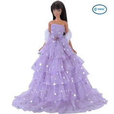 E-TING Fashion Purple Multilayer Sequins Doll Clothes Party Dress Gown and A Scarf For Barbie Dolls