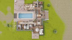 Courtyard House Plans, Sims House Plans, House Layout Plans, Dream House Plans, House Layouts, Sims House Design, Village House Design, Small House Design, Modern House Design