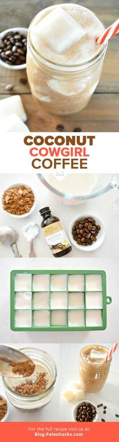 Start the morning off right with this rich and delicious Paleo iced coffee. Coconut milk ice cubes create a creamy texture as they melt to combine with real chocolate and coconut flavors, making it the perfect way to perk up your morning. For the full rec Yummy Drinks, Healthy Drinks, Yummy Food, Healthy Smoothies, Morning Smoothies, Green Smoothies, Cafeteria Menu, Smoothie Drinks, Coffee Recipes