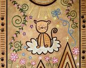 Childrens Decor Kids Wall Art - Kitty Cat Tribute to Heaven - Girls Room Kids Art Prints by TwoLittleWitches