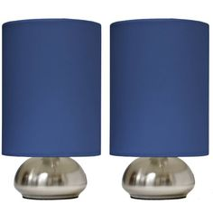Simple Designs Gemini 2-Pack Mini Touch Lamp with Brushed Steel Base and Blue Fabric Shades, Silver