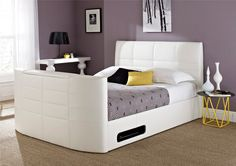 The York leather TV bed (white) is a new model that we are really proud of! New for this year, this TV bed design has been brought into the realm of modern, masculine style whilst at the same time having an air of extr White Office Furniture, Leather Bed, Bonded Leather, Tv Beds, King Size Bed Frame, White Tv, Bed Frame And Headboard, Modern Shelving, Modern Bedroom