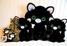 4 Piece Vintage Flocked Black Cat Die Cuts by TimelessTreasuresbyM on Etsy