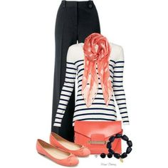 Work outfit - navy and coral