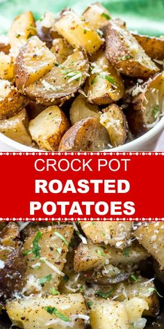 Crockpot Roasted Potatoes are potatoes roasted in a crockpot or slow cooker with garlic, Italian Seasoning herbs, including rosemary, and parmesan cheese. These Crockpot Roasted Potatoes are perfect for a Thanksgiving or holiday dinner. Potato Recipes Crockpot, Crockpot Side Dishes, Healthy Recipes, Side Dish Recipes, Slow Cooker Recipes, Chicken Recipes, Cooking Recipes, Veggies In Crockpot, Dinner Recipes