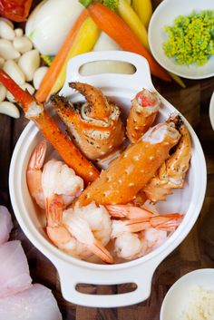 LOCALE Magazine Feature: Colette's Catering & Events 'Meals Deconstructed'  | Cioppino Article -Mise En Place of King Crab and Shrimp