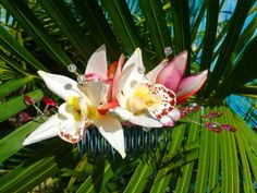 Silver Hair Comb with Pink and White Orchids, Swarovski Pearl Centers and Crystal Accents.
