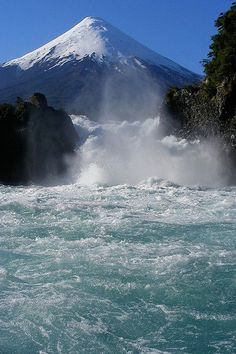 So happy to have seen this. Petrohué Waterfalls with Osorno Volcano in the background, Los Lagos, Chile Beautiful Waterfalls, Beautiful Landscapes, Places To Travel, Places To See, Places Around The World, Around The Worlds, Beautiful World, Beautiful Places, Foto Nature