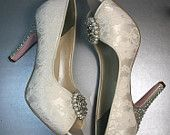 Wedding Shoes -- Ivory Peeptoes with Lace Overlay, Rhinestone and Pearl Ring Adornment, Pink Soles and Rhinestone Details