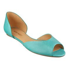 These are my Must-Have's!! I have big plans for this shoe! Nine West Byteme Peep Toe flats in Aqua leather. They are so warm-weather perfect.