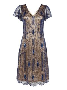 Navy Blue Gold UK26 US22 AUS26 EU54 Vintage inspired 1920s vibe Flapper Gatsby Beaded Charleston Sequin Art Deco Mod Wedding Party Capped Sleeve Dress