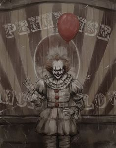 Pennywise in front of his wagon found on Instagram artist is Pennyrice (tumblr)