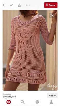 Crochet Woman, Hand Crochet, Crochet Top, Crochet Summer Dresses, Summer Dresses For Women, Crochet Coaster Pattern, Crochet Crafts, Crochet Projects, Crochet Dresses