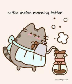 Want a cup of fresh brew coffee? Gato Pusheen, Pusheen Love, Pusheen Stuff, Pusheen Stormy, Stitch Games, Chibi Cat, Cute Animal Memes, Cute Cartoon Drawings, Cat Drawing
