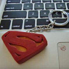 Superman keychain made from polymer clay
