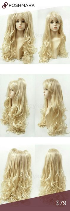 """Blonde long wig w/detachable clip ponytails Long blonde wig with detachable clip ponytails. Straight and wavy at the ends. Made with synthetic fibers. *Not heat resistant, do not use heating tools.  Color: Blonde (613) Length: 30"""" inches Circumference: Default at 21"""" with adjustable cap (max 23"""") Materials: Synthetic wig fibers Total Weight: Approx 1.5 lbs  Wig prices are firm. Accessories Hair Accessories"""