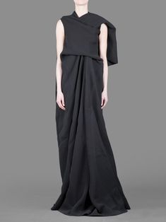 RICK OWENS TWISTED SILK'WEDDING' DRESS WITH DRAPED FRONT AND SHAWL COLLAR
