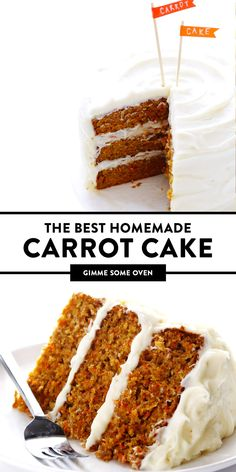 Friends agree that this really is the BEST carrot cake recipe! It's moist, perfectly-spiced, made with fresh carrots and a heavenly cream cheese frosting. Classic Carrot Cake Recipe, Homemade Carrot Cake, Best Carrot Cake Recipe From Scratch, Homemade Frosting, Carrot Cakes, Homemade Breads, Baking Recipes, Cake Recipes, Healthy Recipes