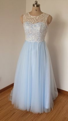 2015 Scoop Sweetheart Ivory Lace Light Sky Blue by DressCulture