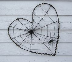 Twisted Spider Web Barbed Wire Valentines Day Heart  .. thedustyraven - etsy