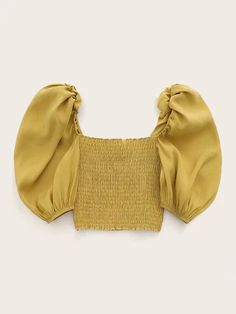 Buy Puff Sleeve Shirred Crop Top at the best price. Shop from a range of lengths, colours and styles for the day, evening or any occasion from your favourite brands. Crop Top Outfits, Cute Casual Outfits, Pretty Outfits, Look Fashion, Fashion News, Fashion Outfits, Korean Outfits, Korean Clothes, Ideias Fashion