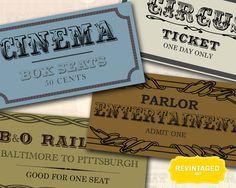Ticket Collage Sheet in Vintage Designs // by RevintagedArt, $2.90