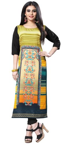 b7512662825e 2019 Summer Special Multi Colour Casual Wear A-line Geometric Printed Kurti  For Women