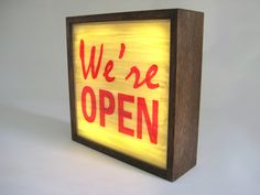 Hand Painted Lighted Signs WE'RE OPEN Vintage Wooden by Bingkai