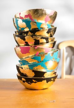 Behind the Scenes: Tour Plaid & Meet the 2016 Plaid Creators! Martha Stewart Gilded Gold bowls crafted by all our creators!