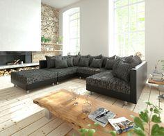 DELIFE Wohnlandschaft Clovis Schwarz Modulsofa Mit Hocker, Design  Wohnlandschaften, Couch Loft, Modulsofa,