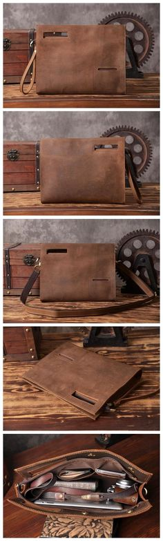 Vintage Style Leather Men Clutch iPad Case Messenger Bag Handbag in Vintage Brown 14141