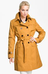 Love the color....  DKNY Double Breasted Trench Coat (Nordstrom) - color TAXI