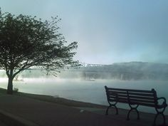 Morning has broken on the Ohio River - Madison, Indiana.  The morning mist over the water is a familiar sight.
