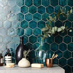 Handmade Home Decor Decoration Inspiration, Bathroom Inspiration, Interior Inspiration, Bathroom Ideas, Bathroom Tiling, Decor Ideas, Hexagon Tile Bathroom Floor, Gray Shower Tile, Master Bath Tile