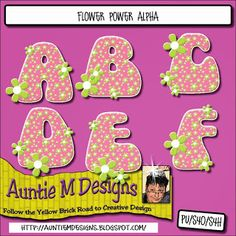 Auntie M Designs: Flower Power Alphabet and Numbers
