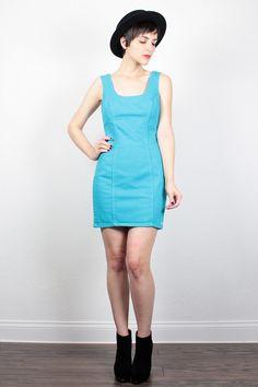 Vintage Bongo Denim Dress 1980s Mini Dress Backless Dress 80s Teal Blue Jean Jumper Bodycon Dress Low Back Mod New Wave Jean Dress S Small by ShopTwitchVintage #vintage #etsy #80s #1980s #dress #denim #mini #backless #bongo #teal #newwave