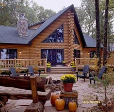 Log Home By Golden Eagle Log Homes - Fire Pit & Rear Of Home