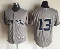 Yankees #13 Alex Rodriguez Grey Flexbase Authentic Collection Stitched MLB Jersey