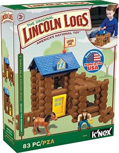 LINCOLN LOGS - Horseshoe Hill Station - 83 Pieces - Ages 3+ Preschool Education Toy