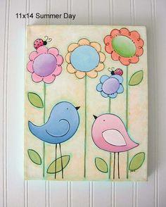 Birdies in the Garden  Sunny Summer Day  Kids by iwantedtowonder, $38.99