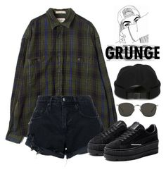 """Untitled #650"" by jenxorose ❤ liked on Polyvore featuring Nobody Denim, Linda Farrow and AMI #grungeoutfits"