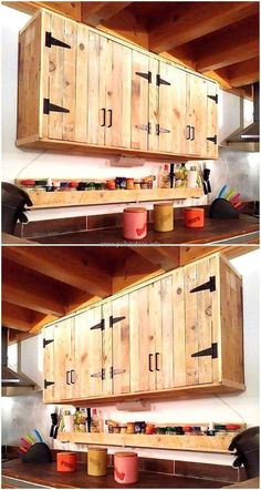 Pallets made kitchen cabinet idea is here, the kitchen can be adorned in the best way with the person's own hands because he/she knows which things are needed in the kitchen while cooking. The cabinets are good for placing the spice bottles and the kitchen utensils in a proper way.