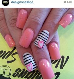 Cute nail design in pink, white, and black