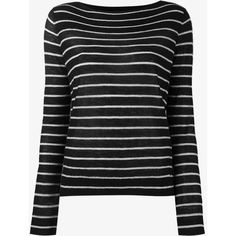Vince Cashmere Striped Jumper (10,035 INR) ❤ liked on Polyvore featuring tops, sweaters, black, black white striped sweater, cashmere sweater, cashmere boatneck sweater, long sleeve sweater and black and white striped sweater
