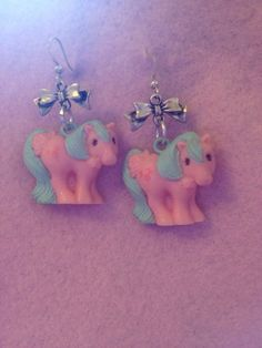 Vintage My Little Pony Pink And Mint Bow Earrings by zefora