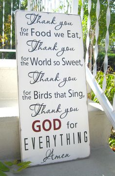 Ready To Ship - Thank You For The Food We Eat Blessing - Typography Word Art…