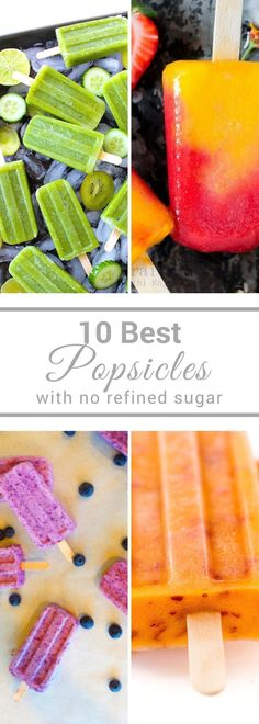 These are the 10 Best Popsicles to get your through your summer. All of these popsicle recipes have no refined sugar. Their a guilt free tread to help you beat the heat! paleo lunch no heat Healthy Popsicles, Fruit Popsicles, Homemade Popsicles, Sugar Free Desserts, Frozen Desserts, Frozen Treats, Cold Desserts, Coctails Recipes, Snack Recipes